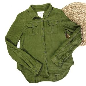 We The Free | Small Olive Green Button Down Shirt